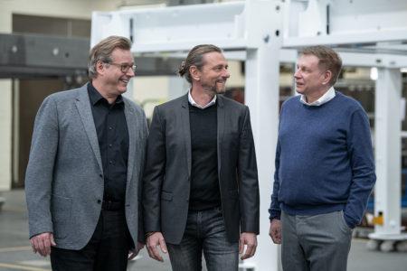 l-r Peter Gabriel, Gerald Schubert and Ralf Schubert