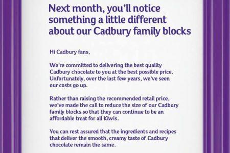 Cadbury New Zealand draws criticism over chocolate 'shrinkflation'